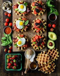 Buttermilk Waffles, Bacon Avocado, Quail Eggs, Candied Pecans, Sweet Breakfast, Maple Syrup, Hot Sauce, Freeze, Tomatoes