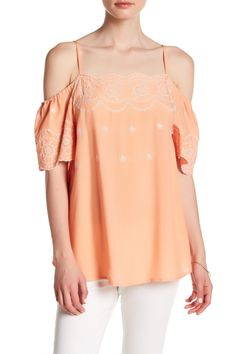Cold Shoulder Embroidered Woven Blouse