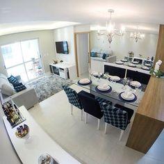 Ambientes integrados | Uma excelente opção para quem possui apartamento pequeno e curte uma decoração leve. Foto: Reprodução/Pinterest