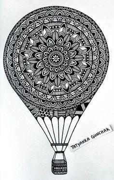 Mandala by Tatyanka-Gunchak on DeviantArt - Balloon by Tatyanka-Gunchak - Easy Mandala Drawing, Mandala Doodle, Mandala Art Lesson, Simple Mandala, Mandala Artwork, Mandala Sketch, Mandala Painting, Black Pen Drawing, Doodle Art Drawing