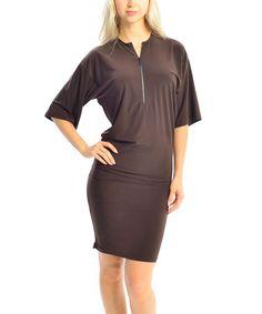 Another great find on #zulily! Brown Zip-Up Dolman Dress by Zac Studio #zulilyfinds