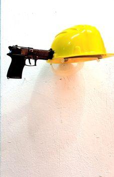plastic helmet, gun, 2011 Museum Of Contemporary Art, Contemporary Artists, Thessaloniki, Gun, Artworks, Helmet, Plastic, Hockey Helmet, Firearms