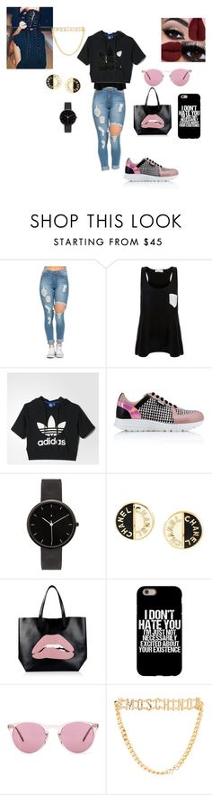 """""""swag"""" by zeinab-mohamoud-awad on Polyvore featuring Solid & Striped, adidas, Karl Lagerfeld, I Love Ugly, Chanel, RED Valentino, Oliver Peoples and Moschino"""