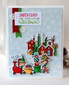 Santa Claus is Coming To Town Card by Michele Boyer #Cardmaking, #TEMatched, #Christmas, #LittleBitsDies, #BuildAScene, #TE, #ShareJoy