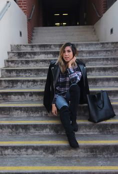 Madewell Shirt, H&M Coat, Calvin Klein Over The Knee Boots, Madewell Leather Tote