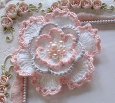 This listing you will receive an crochet flower in White, Lt pink, Lt Gray    size in 3    If You need a custom order, please leave note to me.    I have another ribbon shop on ETSY. Name is Marcusann. Please take a look when you have time, Maybe you can find some items you want. https://www.etsy.com/shop/Marcusann?ref=search_shop_redirect    Thanks for looking