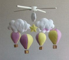 Baby mobile Hot Air Balloon Mobile Purple Mobile Purple
