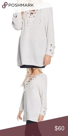 Beige Lace Up Sweater Cute sweater with a lace-up neckline, relaxed silhouette, sleeve-strap details! Brand new. Sweaters