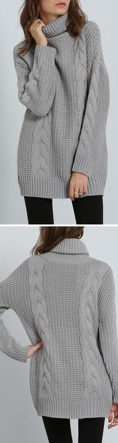 Pullover cable knit turtleneck long sweater in grey. So comfy & generous! Click for free Shipping with 100% Quality Guarantee at romwe.com!