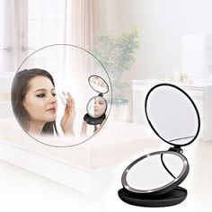 Double Side Swivel LED Beauty Makeup Mirror Lamp Lady Folding Cosmetic Mirror #NewBrand