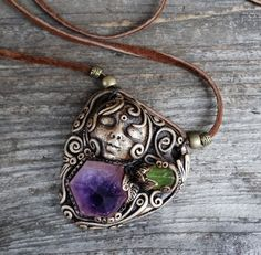 Goddess Handmade Goddess Necklace Amethyst Peridot Crystal Pendant