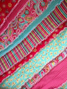 Flannel Rag Quilt : Bright, paisley, stripes and flowers girls blanket - love these colors!