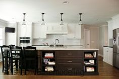 Distinctive Remodeling Solutions in ATL. I like the large island with storage and eating station. Remodeling Contractors, Home Remodeling, Mudroom, Storage Spaces, Kitchen Remodel, Kitchen Cabinets, Tours, Dream Kitchens, Island