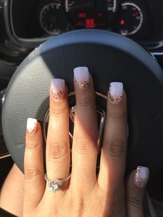 Ombre milky white and gold foil dipping powder nails!