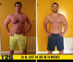 "DJ M. lost 44 lbs in 14 weeks with Focus T25!    ""Focus T25 is a motivating, upbeat workout that helped me achieve the best and fastest results of my life! I sleep better, breathe better, think better and look better. Basically, everything is better!"""