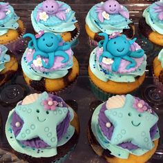 Ocean themed cupcakes--hand made starfish, octopus, and crab fondant toppers placed on buttercream rosettes.