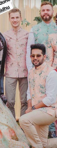 Designer pink and cream floral waistcoats. Bride Reception Dresses, Wedding Dress Men, Wedding Dresses Photos, Wedding Men, Nehru Jacket For Men, Waistcoat Men, Mens Shalwar Kameez, Kurta Men, Indian Jackets