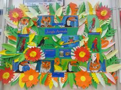 Fabric painting and leaf cutting year 4 Display Boards For School, School Displays, Jungle Animals, Reading Room, Fabric Painting, Art, Painting On Fabric, Art Background, Kunst