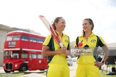 Meg Lanning and Ellyse Perry of Australia pose in front of a London bus during the Women's Ashes Schedule Launch at Bondi Beach on March 7 2017 in. London Bus, March 7, Bondi Beach, Post Wedding, Cricket, Schedule, Ronald Mcdonald, Product Launch, Australia