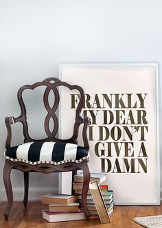 Black  White Stripe Upholstery | Brass Nailhead Trim | Gone with the Wind Poster