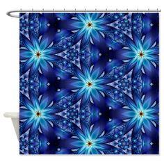 Midnight Blue Flower Shower Curtain on CafePress.com