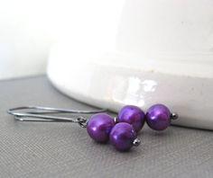 Pearl Earrings Purple Pearls Silver Earrings Purple by fiveforty, $20.00