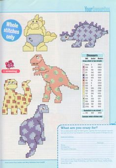 CRAZY FOR DINOSAURS by LUCIE HEATON -- CROSS STITCH PATTERNS 2/2