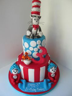 cat in the hat 1st birthday cake