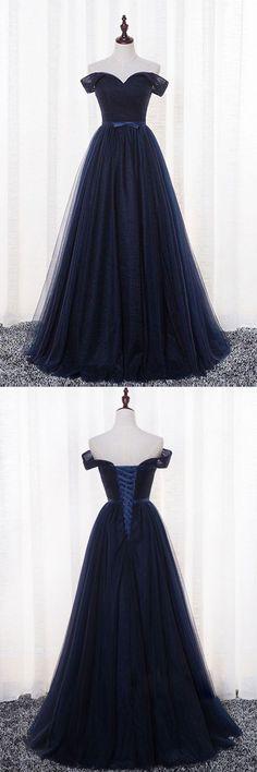 Simple dark blue tulle long prom dress, dark blue evening dress, bridesmaid dress