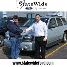 Warren Bosler taking delivery of his Chevrolet Trailblazer from Logan Rupert. Statewide Ford Lincoln would like to thank you for your business Warren.