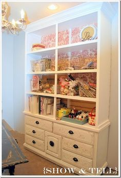 I have a craft room but its lacking in organization and cuteness. So I decided to do today's Whats Hot Wednesday on craft room so that I can get some good ideas for my space. Diy Furniture Projects, Repurposed Furniture, Furniture Makeover, Home Projects, Painted Furniture, Painted Hutch, Paper Storage, Craft Storage, Craft Shelves