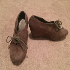 Brown suede booties Wedge tie up booties. Great shape. Worn only a few times. Forever 21 Shoes
