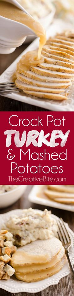 Crock Pot Turkey Breast & Garlic Mashed Potatoes is an easy one pot recipe made in your slow cooker perfect for a small holiday dinner or simple weeknight meal. Jennie-O Oven Ready Boneless Turkey Breast potatoes and gravy come together to make a delici Best Slow Cooker, Crock Pot Slow Cooker, Slow Cooker Recipes, Cooking Recipes, Cooking Hacks, Meal Recipes, Slow Cooking, Recipies, Easy Holiday Recipes