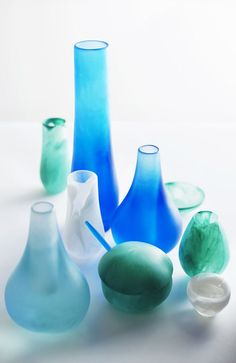 Dinosaur Designs Classics - love the shades of colours Dinosaur Design, Classic Collection, Hurricane Glass, Decoration, My Favorite Color, Interior Architecture, Cool Stuff, Handmade, Blues