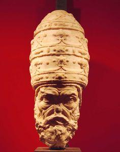 La testa colossale di papa Paolo IV di Vincenzo de' Rossi esposta al Museo Diocesano di Trento (luglio 2009: foto Roberto Pancheri)
