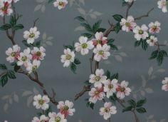 Vintage Wallpaper white apple blossoms on blue