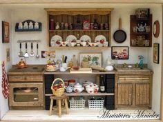 Miniatura Dollhouse cucina RoomBox vecchio stile di Minicler