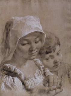 Giovanni Battista Piazzetta (1682-1754).  Head of a boy and a girl in a white peasant's cap. Black and white chalk on blue paper faded to brown