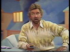 "Noel Edmonds on Telly Addicts with his ""hoofer-doofer"" remote control."