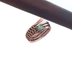 Wire wrapped aventurine ring, copper ring, copper wire ring, wire wrapped ring, wire ring, handmade rings, metal ring, handmade jewelry
