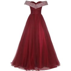 Bridesmay Long Tulle Prom Dress Beaded Off Shoulder Evening Gown... ($85) ❤ liked on Polyvore featuring dresses, gowns, red gown, red formal gown, long formal gowns, long homecoming dresses and long gown