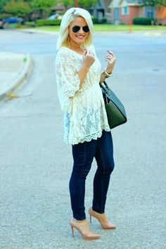 Fashion For Fashion: Blue Casual Jeans Top White Awesome Lace