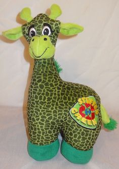 "Green Plush Giraffe Stuffed Green 15"" Sugar Loaf Recycled 2009  #SugarLoaf"