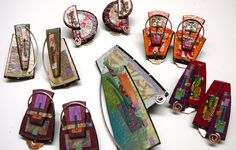 Lauren Pollaro  http://laurenpollarojewelry.com  Lauren currently lives in Maine and works as a jewelry artist as well as creates wall sculpture. Her technique includes layering of many materials including precious metal, enamels, paints, papers, fabrics, wood, beads and more with all of her work inspired by color. Each item is a unique piece of art. Her jewelry, which is, or has been for sale in the Currier Museum of Art's Museum Shop in Manchester, NH, are $52.