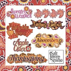 FREE Autumn Paisley Word Art By Salt Town Studio [Store Checkout Required]
