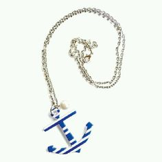 Blue and white striped anchor neckless..want this