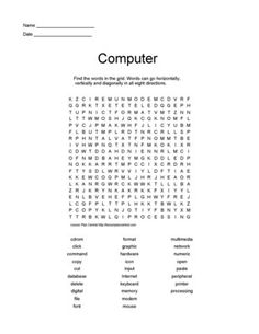 Computer Worksheets Printables | Lesson Plans : Printable Word Search and Crossword Puzzles