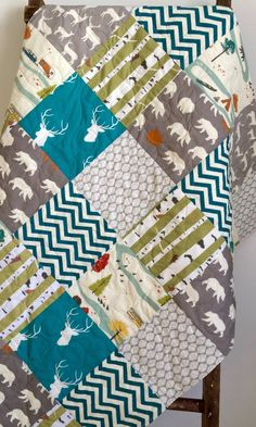 Baby Quilt, Gender Neutral, Patchwork, Bear Hike, Camping, Woodland, Chevron, Birch Forest, Elk, Deer, Crib Bedding, Baby Bedding, Children by CoolSpool on Etsy https://www.etsy.com/listing/206308421/baby-quilt-gender-neutral-patchwork-bear
