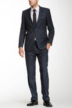 Herringbone Trim Fit Two Button Notch Lapel Wool Suit