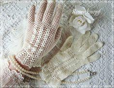 Handschuhe VINTAGE LADY  Shabby  Gehäkelt von Rosenknopf auf DaWanda.com